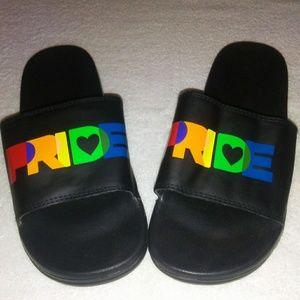 Shoes - 🆕 PRIDE slides rainbow 🌈 text vegan black sandal
